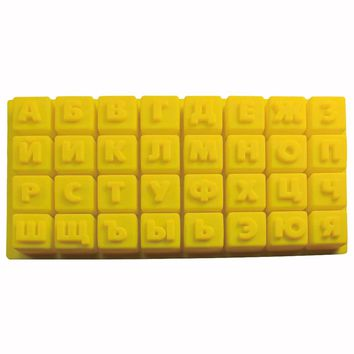 1 Pc Russian Alphabet/Letters Silicone Mold Jelly & Candy Pudding Chocolate Mould DIY Pastry Tools Bakeware Fondant Mold