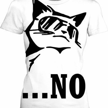 Sorry, my cat said no... Minimal black and white tee shirt design, badass animal person clothing