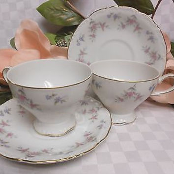 Royal M By Meito, China, dinnerware Japan, Fleurette Gold trim.set 2 cup & sauce