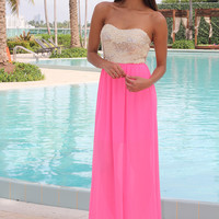 Neon Pink Maxi Dress with Sequin Top