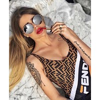 FENDI Hot Sale Fashion Women Print Vest Style One Piece Bikini Swimsuit