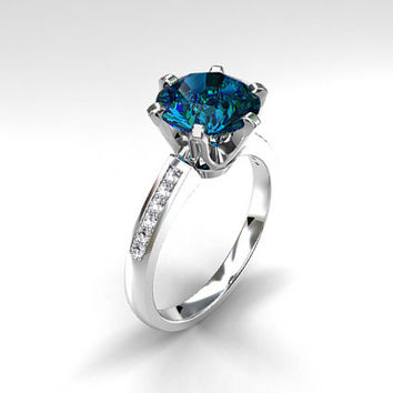3.80ct London blue topaz ring, Diamond, White gold, Engagement ring, Solitaire, Blue, Diamond engagement, Topaz engagement, London blue