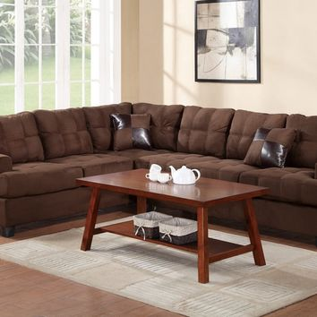 2 pc Clarissa collection Chocolate plush microfiber upholstered tufted seat and back reversible sectional sofa with pillows