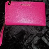 NWT MICHAEL KORS Ultra Pink Leather Double-Zip Wristlet/Wallet