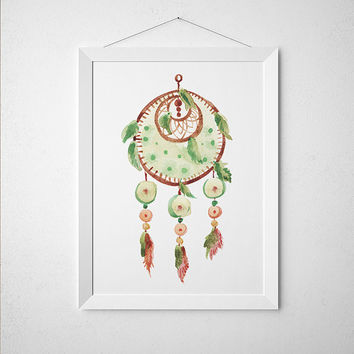 Boho poster Watercolor print Dreamcatcher print Tribal decor ACW796