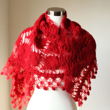 Red Shrug Shawl / Crochet Shawl / Crochet Shrug / Women Accessories  / Handmade Shawl / Bridal Shrug Shawl /Wedding / Bridesmaid Gift
