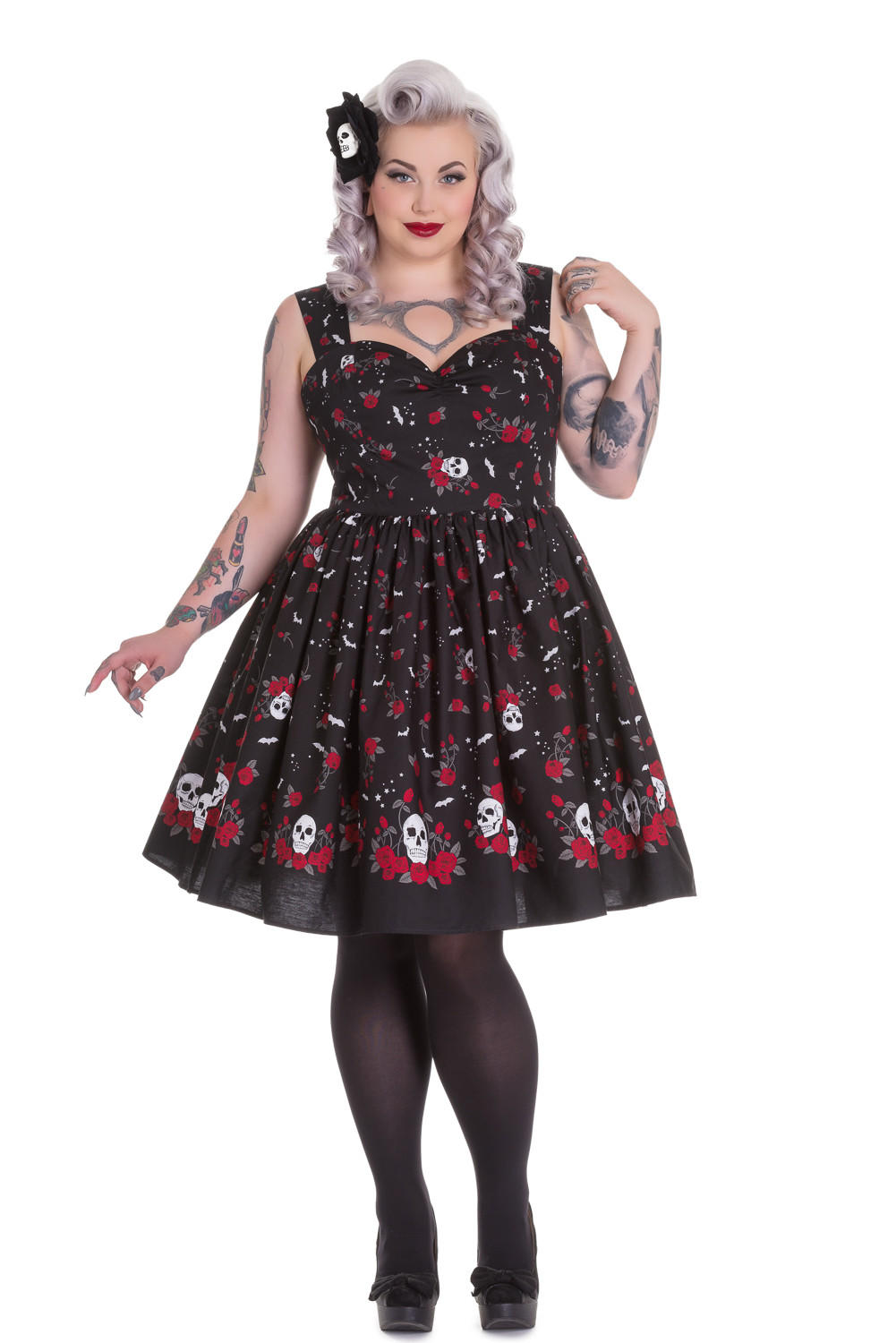 724c6927576 Hell Bunny Plus Size Rockabilly Goth Skull and Red Roses Beautiful Soul  Swing Dress
