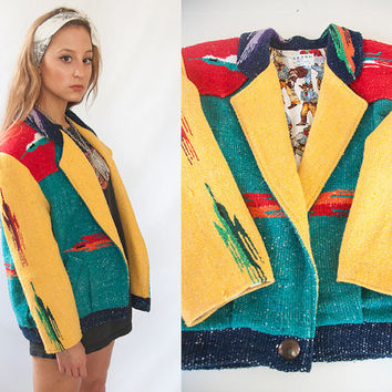 80s Color Block Navajo Wool Coat | Womens Large or Mens Small Bright Red Yellow Green Southwestern Jacket | Unique Funky Western Blazer M L