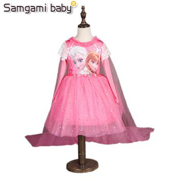 SAMGAMI BABY Girls Spring and Autumn Wearing ,kids Catoon Anna and Elsa Long Sleeved Shawl Dress Snow Queen Halloween Party Role