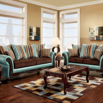 SM7610 2 pc mulligan collection two tone dark brown fabric and teal leatherette upholstered sofa and love seat set with wood trim front arms and base