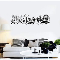 Vinyl Wall Decal Viva Mexico Lettering Mexican Map Room Decor Stickers Mural (ig5396)