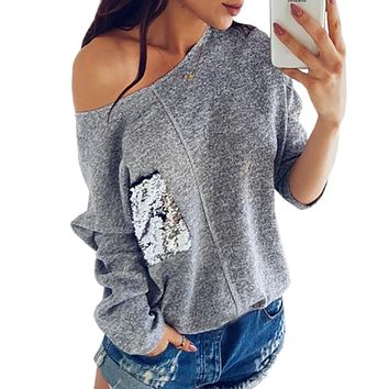 Casual Sexy Women Knit Sweater Off Shoulder Top Fashion Sequined Pocket Pullover Knitted Plus Size Winter Autumn Shirts GV072