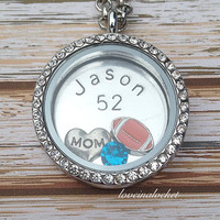 Football Mom Locket, HAND Stamped Football Necklace, Personalized Football Locket, Floating Locket, Football Mom Necklace, Football Mom Gift