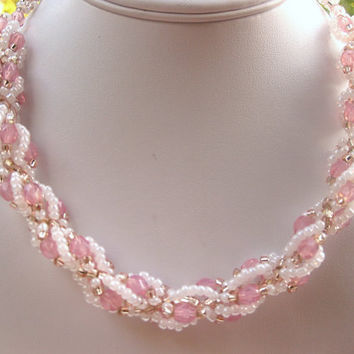 Pink  and white spiral rope necklace- free shipping