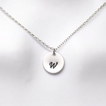 Simple, Personal, Letter, Initial, Coin, Gold, Silver, Necklace, Custom, Hand stamped, Initial, Necklace, Friends, Lovers, Gift, Jewelry