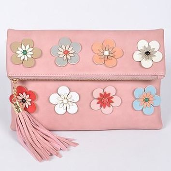 Flower Power Pink Clutch bag Purse