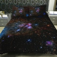 Anlye Nebula Bedding Sets 2 Sides Printing Black Night Nebula Quilt Cover Nebula Bed Sheets with 2 Matching Star Pillow Covers Twin