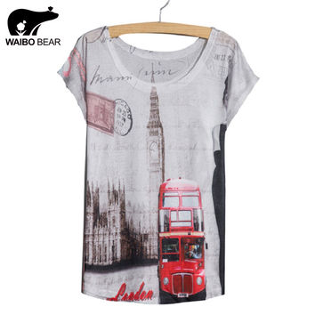 New 2017 Fashion Style Female Ladies' t-shirt white slim Summer thin tees Batwing Sleeve Red Bus Printed Women Top T Shirt