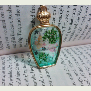 Handmade Resin Jewelry - Butterflies in Green world - Resin Pendant - Necklace Charm