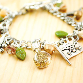 Peter Pan Charm Bracelet - Women's Charm Bracelet - Tinkerbell, Faith, Trust, and Pixie Dust