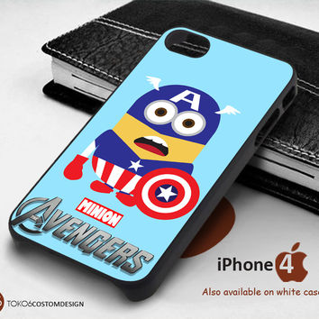 Captain america minion avengers for iPhone 4/4S, iPhone 5/5S, iPhone 6, iPod 4, iPod 5, Samsung Galaxy Note 3, Galaxy Note 4, Galaxy S3, Galaxy S4, Galaxy S5, Galaxy S6, Phone Case