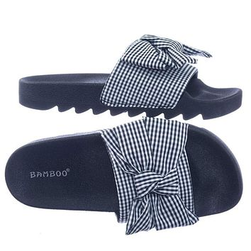 Purity01 by Blossom Lug Sole Gingham Checker Sporty Slide Molded Footbed Flat Sandal