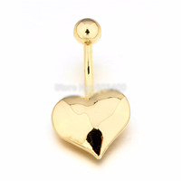 Gold Plated Heart Dangle Belly Button Ring - 316L Surgical Steel