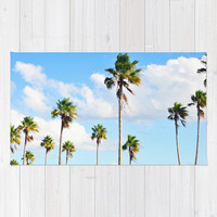 North Beach Palms 2 - Beach Towel, Blue Green Tropical Palm Trees Style, Large Sized Towel, Boho Chic Surf Blanket Throw. In 36x72 Inches