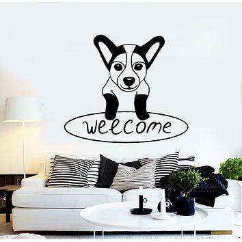 Vinyl Wall Decal Welcome Lettering Dog Puppy Sweet Home Stickers Mural (g234)