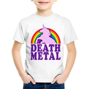 Children Print Rainbow Unicorn Death Metal T-shirts Kids Funny Summer Cute Clothes Casual Tops Baby Tees For Boys/Girls,HKP2164