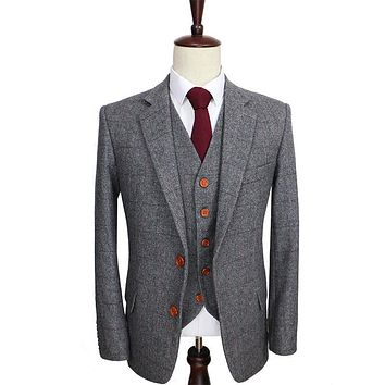 Wool Retro Grey Herringbone Tweed British Style Custom Made Men Suit Tailor Slim Fit Blazer Wedding Suits For Men 3 Piece