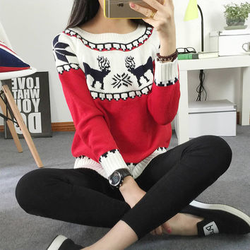 2017 Women's Christmas Reindeer Snowflakes Sweater Pullover Red All Wrapped Up Ugly New Year Christmas Sweater Jumper Pull Femme