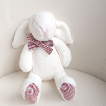 Plush bunny, rabbit, stuffed,  white, Easter bunny - baby shower toy - baby girls