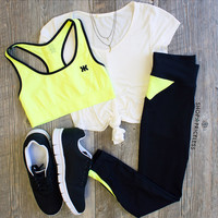I Werk Out Pants - Neon Yellow