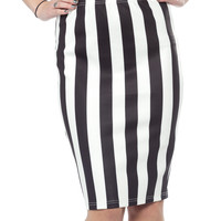 SOURPUSS STRIPED SCUBA SKIRT BLK/WHT