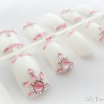 Oriental pink wedding nails, bridal nails, gyaru nail art set