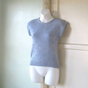 Slate Blue Freaks/Geeks Cap Sleeve, Cropped '80s Sweater - Small, Angora-blend Blue Pullover - Light Blue Vintage Pullover Jumper