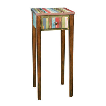 Ribbon Striped Slim Single-Drawer Night Stand