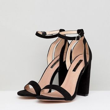 c6bf8cd781f Lost Ink Wide Fit Black Blaise Block Heeled Sandals at asos.com
