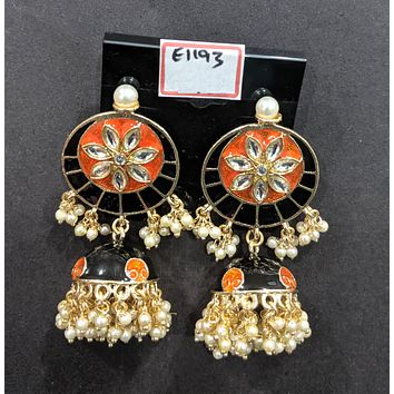 Flower embossed round stud with jhumka hanging enamel n pearl bead dangling earring