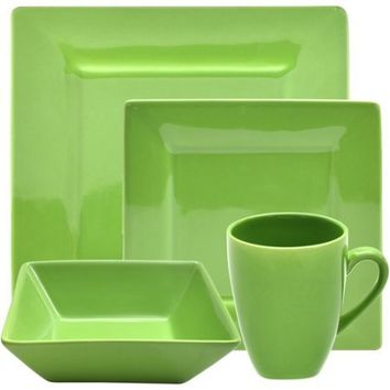 10 Strawberry Street NOVA-16SQ 16 Piece Nova Square Dinner Set (Green)