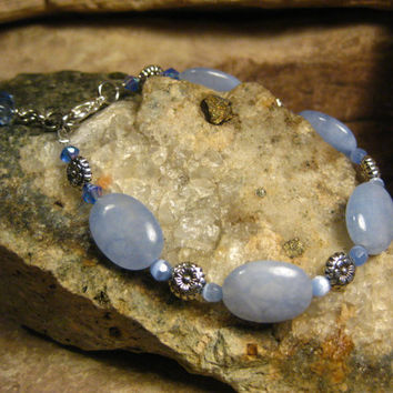 Light Blue Brazilian Aquamarine Bracelet with Catseye, Flower beads and Blue Crystl Dangle, Handmade Jewelry, Gifts for Her