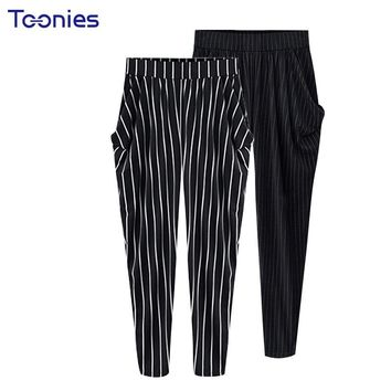 Summer Women Harem Pants High Waist Stripe European Streetwear Trousers Pockets Casual Pants Plus Size 4XL 5XL Slacks Elegant