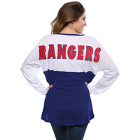 Concepts Sport Texas Rangers Women's White/Red Comeback Long Sleeve T-Shirt