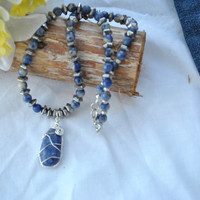 Blue stone necklace; wire wrapped stone; sodalite necklace; blue bead necklace; wire wrapped sodalite; hematite necklace; blue pendant