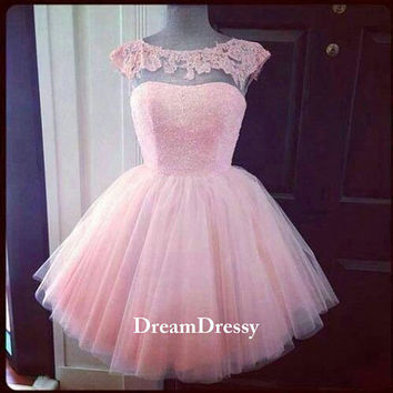 Pretty pink Aline homecoming dresses/sweet 16 dresses/prom dresses, cheap lace-scoop tulle dresses  8469