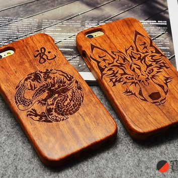 Genuine Real Natural Wood Bamboo Hard Cover Case For Apple For iPhone 6 / 6s 4.7 Inch Dragon Carving Wooden Phone Cases