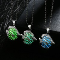 Silver Plated Chain Choker Necklaces Phosphors Fish Glowing In Dark Necklaces