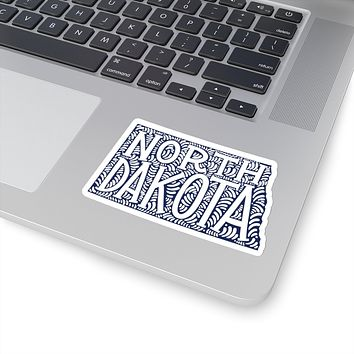 North Dakota State Shape Sticker Decal - Dark Blue