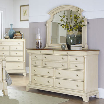 Homelegance Inglewood II 7 Drawer Dresser w/ Mirror in Antique White